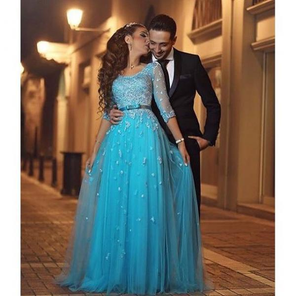 Prom Dresses,Evening Dress,Party Dresses,Prom Dress, 3/4 Sleeve Prom Dress, Long Prom Dress, Tulle Prom Dress, Blue Prom Dress, A-line Prom Dress